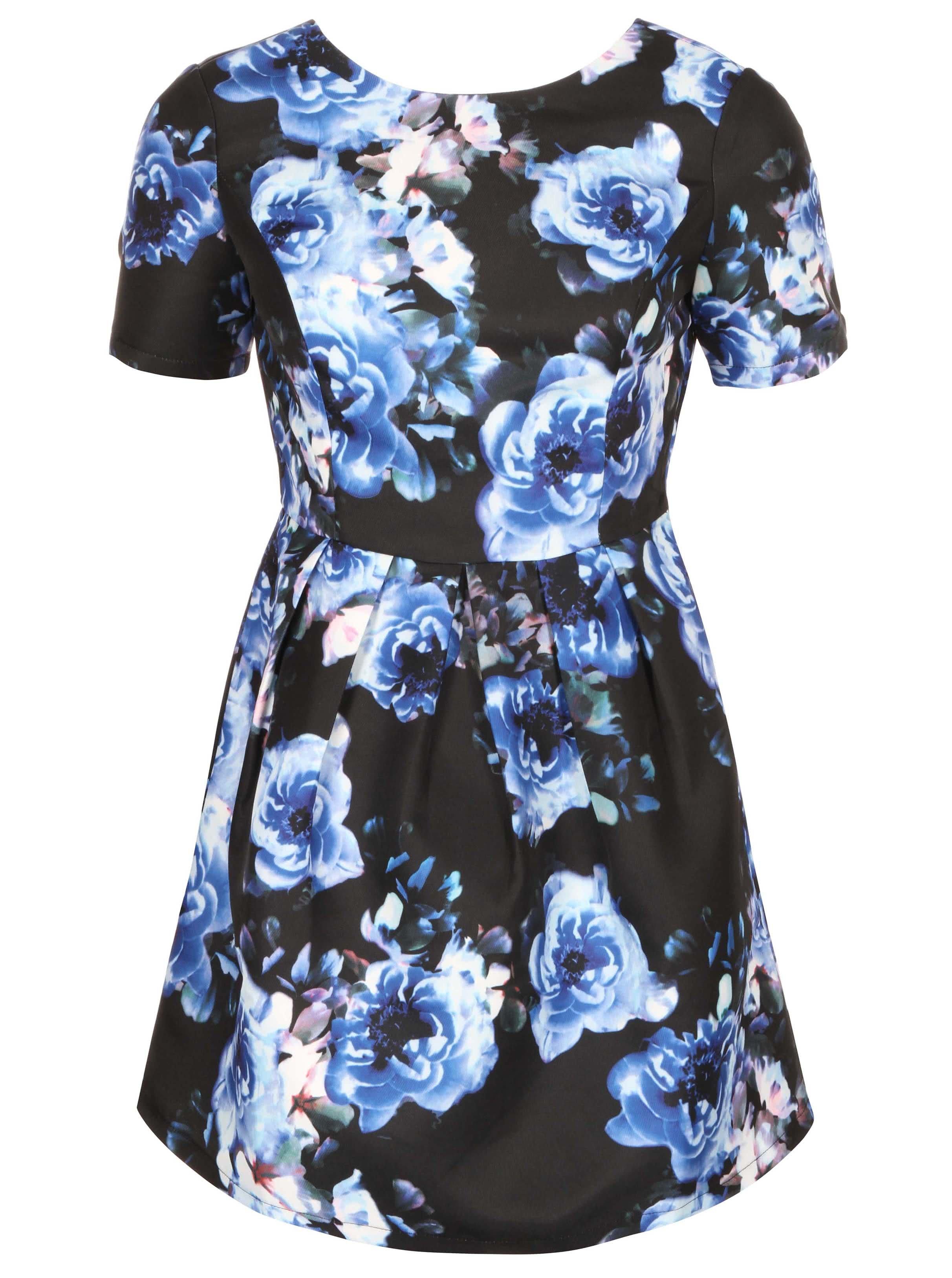 Černé šaty s modrými květy a odhalenými zády Girls on Film