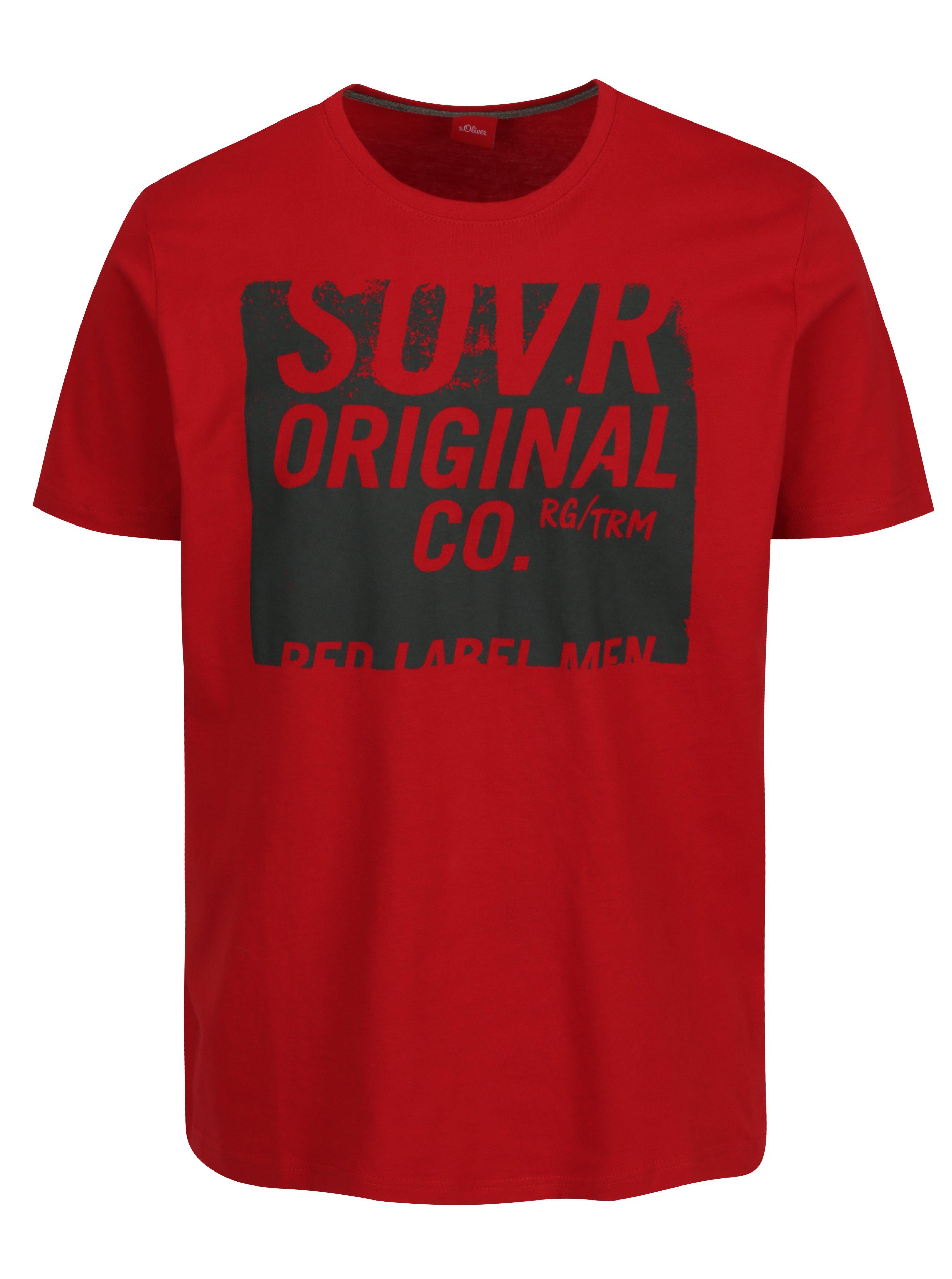 Červené pánske tričko s potlačou s.Oliver