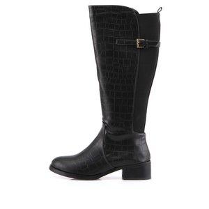 Victoria Delef, Cizme negre înalte Victoria Delef cu model imitație de piele de crocodil