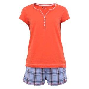 Pijamale portocalii cu șort în carouri de la DKNY