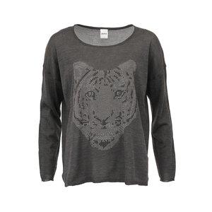 Tricou cu mânecă lungă gri închis cu imprimeu tigru