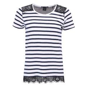 Tricou de damă Maison Scotch cu dungi albastru și alb, cu dantelă neagră