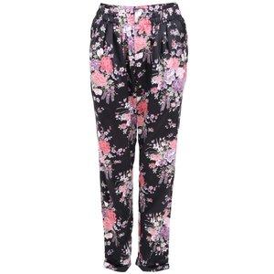 Pantaloni negri în stil japonez cu model floral de la Apricot