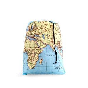 Kikkerland, Sac de rufe pentru călătorii inscripționat cu harta lumii KIKKERLAND