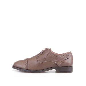 Pantofi din piele maro cu toc jos de la OJJU la pretul de 224.99