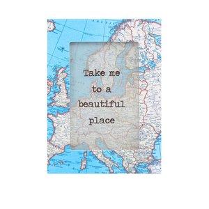 Ramă foto albastră Sass & Belle Vintage Map
