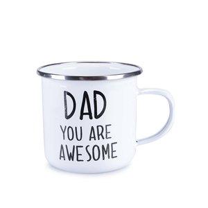 """Sass & Belle, Cană emailată albă de la Sass&Belle """"Dad You Are Awesome"""""""