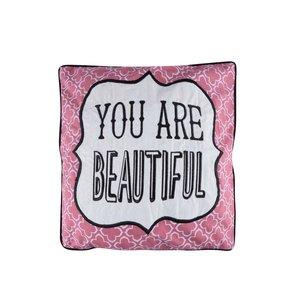 Sass & Belle, Pernă roz cu alb Sass & Belle You Are Beautiful