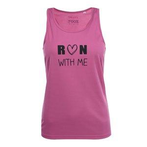 Top roz cu imprimeu text ZOOT Original Run With Me de damă