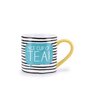 Cană cu dungi negre și albe HAPPY JACKSON Nice Cup Of Tea