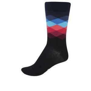 Șosete bărbătești, negre cu imprimeu, model Faded Diamond de la Happy Socks