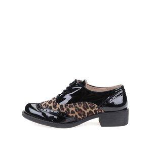 Ghete negre cu model piele de leopard și toc cubanez OJJU