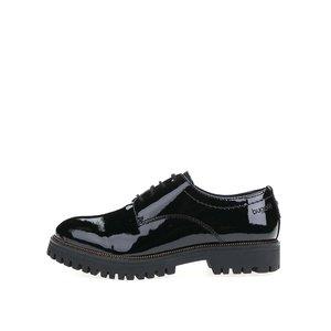 Pantofi oxford Bugatti Iva din piele neagră cu talpă groasă pentru femei