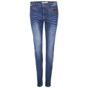 Jeanși Seven, de la Vero Moda, strâmți pe picior, cu fermoare decorative – albaștri la pretul de 88.0