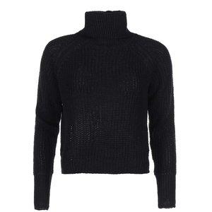 Pulover tricotat cu guler rulat și fermoar decorativ Noisy May Rain – negru