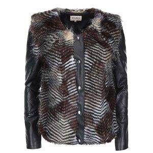 Jachetă din piele artificială cu blană falsă Desires Liona – negru la pretul de 319.99
