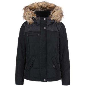 Jacheta de puf Wonder neagra cu gluga cu blana de la ONLY