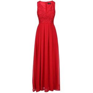 Rochie maxi roșie AX PARIS cu anchior și parte de sus brodată