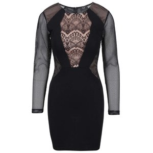 Rochie neagră din dantelă cu mâneci din plasă AX PARIS