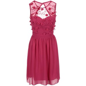 Little Mistress, Rochie roz cu decolteu floral Little Mistress – roz