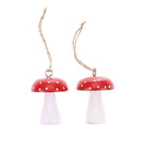 Sass & Belle, Set de două ornamente de Crăciun în formă de ciupercă de la Sass & Belle