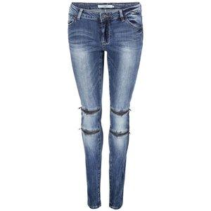 Jeanși albaștri strâmți pe picior, cu fermoare decorative, Vero Moda Five