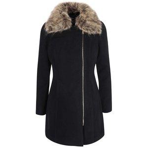 Palton negru Haily´s Zeya cu blană sintetică