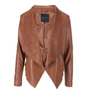 Jachetă maron din imitație de piele de la New Look