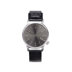 Ceas unisex negru cu brățară din piele Komono Winston Regal