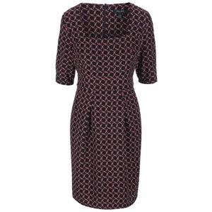Fever London Marseille, rochie neagră cu model geometric, cu decolteu pătrat