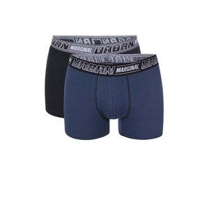Set de două perechi de boxeri Marginal de la Bertoni – Negru cu albastru