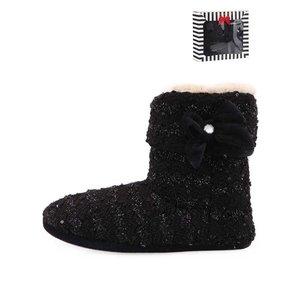 Something Special by Moon papuci de casă tricotați negri cu fundă