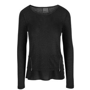 Tricou cu mânecă lungă și fermoare decorative Vero Moda Tessa – negru