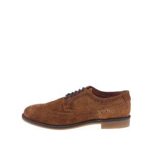 Pantofi Derby din piele întoarsă Dice Beckworth – maro cu talpă maro