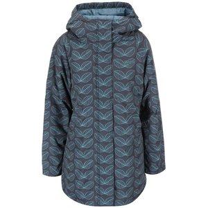 Jachetă impermeabilă lungă, gri, cu glugă și imprimeu de frunze de la Brakeburn
