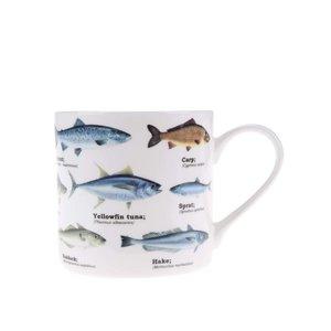 Gift Republic, Cană albă cu imprimeu cu pești Gift Republic