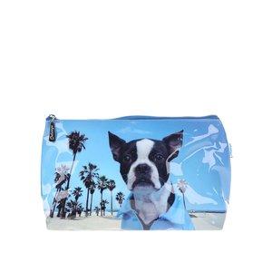 Geantă de toaletă Catseye London, albastră, imprimeu câine pe plajă