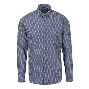 Bertoni Malte Blue and Grey Geometric Patterned Shirt