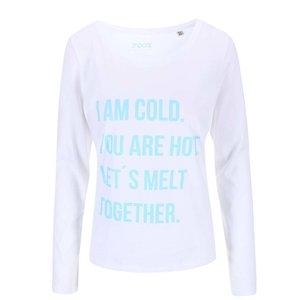 Bluză albă cu imprimeu text ZOOT Original Hot Cold