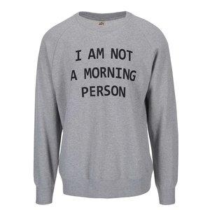 Bluză gri ZOOT Original Morning Person din bumbac cu print