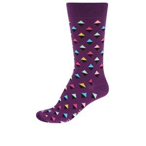 Happy Socks, Șosete unisex mov cadrilate Happy Socks Mini Diamond