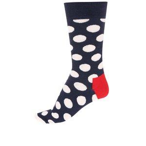 Șosete unisex albastru marinăresc cu buline albe mari de la Happy Socks