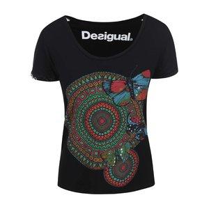 Desigual, Tricou negru cu imprimeu geometric Desigual Amy