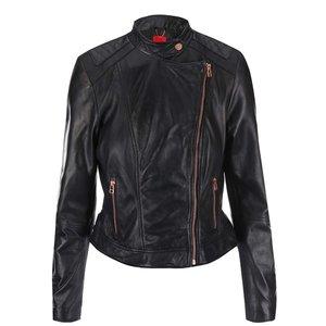 s.Oliver, jachetă de damă din piele neagră cu fermoar asimetric s.Oliver