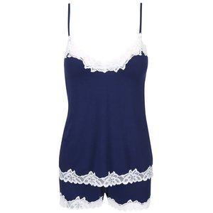 Pijamale Eldar Aria albastru închis cu dantelă