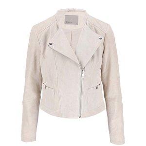 Jachetă crem din piele Vero Moda Fina