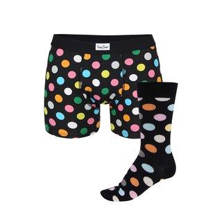 Set de lenjerie cu șosete și chiloți Happy Socks Big Dots bărbătesc negre cu buline