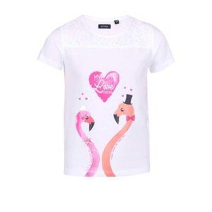 Tricou Blue Seven pentru fete alb cu pasăre flamingo