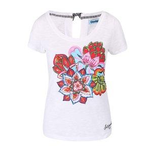 Desigual, Tricou Desigual Achlys alb, cu imprimeu floral și strasuri