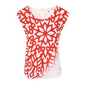 Tricou Desigual Karla Red Mandala alb și negru, cu imprimeu